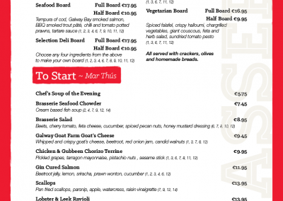Brasserie A La Carte Evening Menu - March 2019 - PG 01