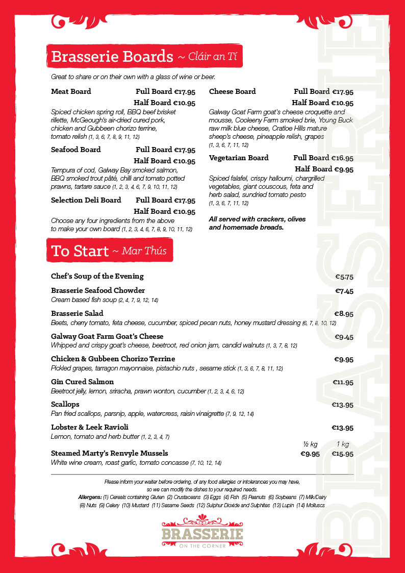 Brasserie A La Carte Evening Menu - March 2019 - PG 01