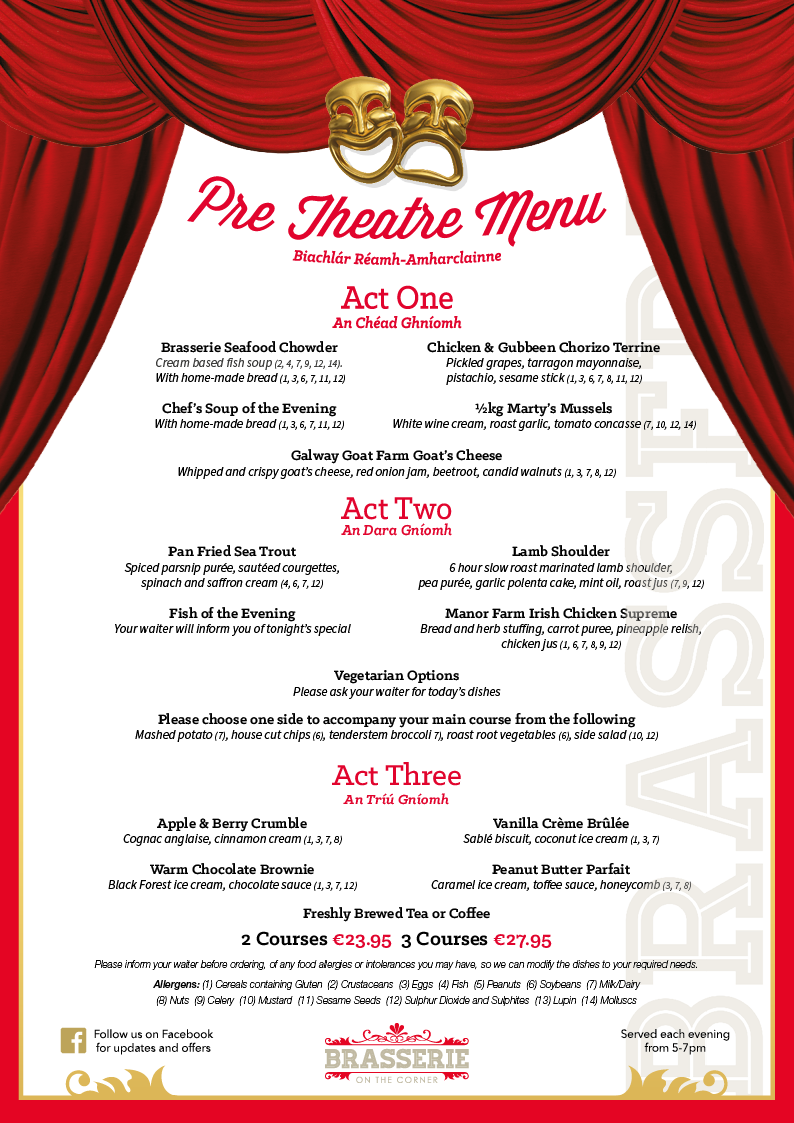 Brasserie Pre-Theatre Menu - March 2019